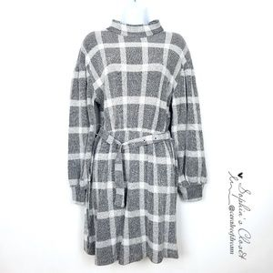 Free People Gray Color Block Puffy Sleeve Dress
